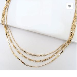 Delicate 3-Layer Rhinestone Gold Necklace!